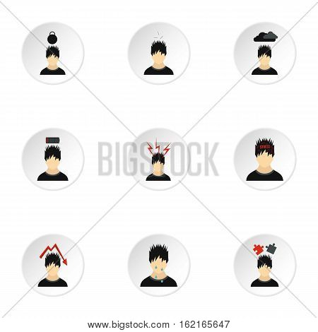 Feeling icons set. Flat illustration of 9 feeling vector icons for web