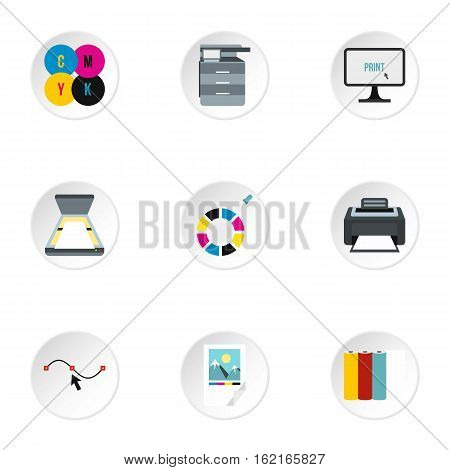 Print icons set. Flat illustration of 9 print vector icons for web
