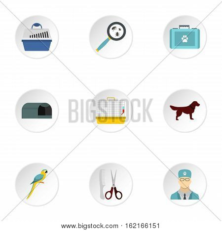 Veterinary animals icons set. Flat illustration of 9 veterinary animals vector icons for web