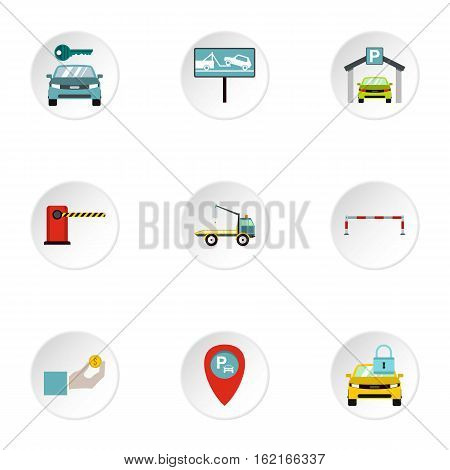 Valet parking icons set. Flat illustration of 9 valet parking vector icons for web