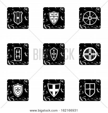 Combat shield icons set. Grunge illustration of 9 combat shield vector icons for web