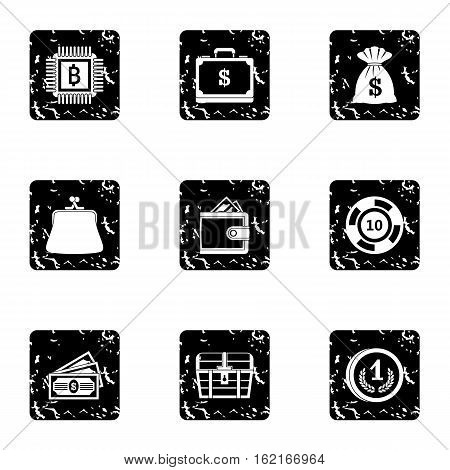 Money icons set. Grunge illustration of 9 money vector icons for web