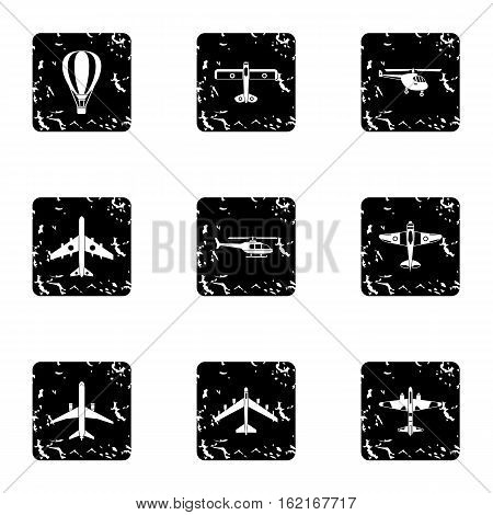 Military air transport icons set. Grunge illustration of 9 military air transport vector icons for web