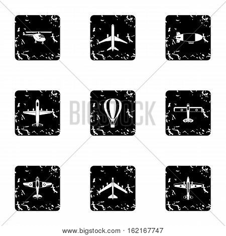 Army planes icons set. Grunge illustration of 9 army planes vector icons for web