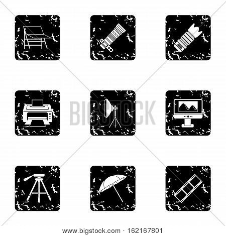 Photographing icons set. Grunge illustration of 9 photographing vector icons for web