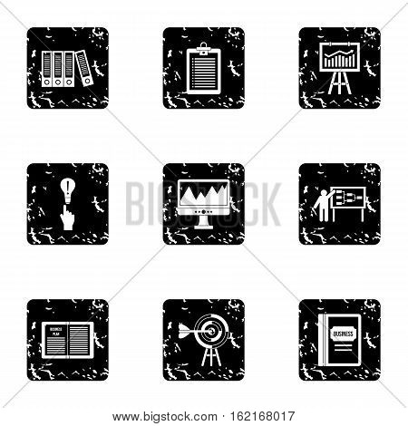Firm icons set. Grunge illustration of 9 firm vector icons for web