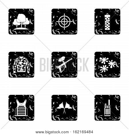 Outfit paintball icons set. Grunge illustration of 9 outfit paintball vector icons for web