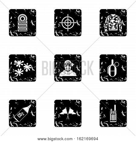 Paintball icons set. Grunge illustration of 9 paintball vector icons for web