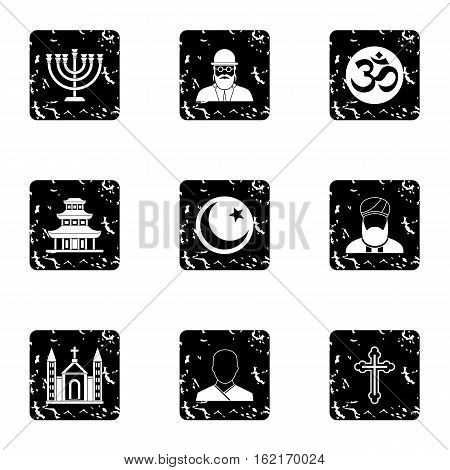 Faith icons set. Grunge illustration of 9 faith vector icons for web