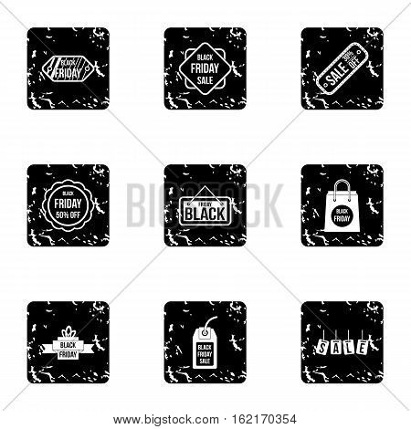 Black friday icons set. Grunge illustration of 9 black friday vector icons for web