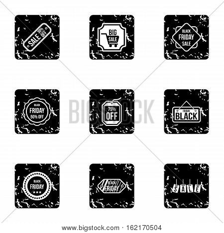 Price down icons set. Grunge illustration of 9 price down vector icons for web