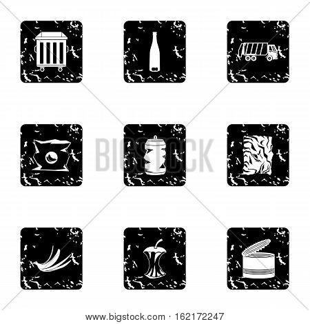 Trash icons set. Grunge illustration of 9 trash vector icons for web