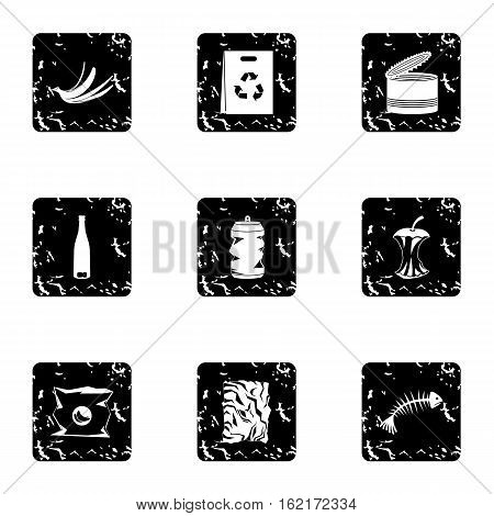 Rubbish icons set. Grunge illustration of 9 rubbish vector icons for web