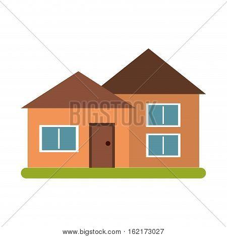 house suburban architecture green grass vector illustration eps 10