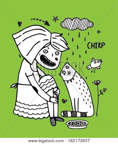 Girlish style cartoon of little baby and animals friendship. Feeding cat. Vector illustration.