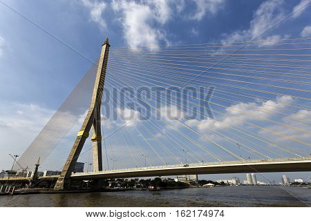The Rama VIII Bridge is a cable-stayed bridge crossing the Chao Phraya River in Bangkok Thailand