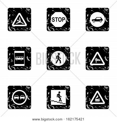 Traffic sign icons set. Grunge illustration of 9 traffic sign vector icons for web