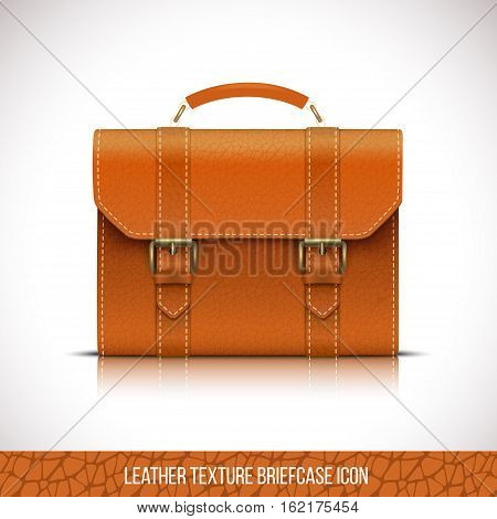 leather briefcase icon, realistic vector illustration Isolated in white background.