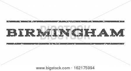 Birmingham watermark stamp. Text caption between horizontal parallel lines with grunge design style. Rubber seal stamp with unclean texture. Vector gray color ink imprint on a white background.