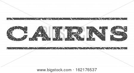 Cairns watermark stamp. Text tag between horizontal parallel lines with grunge design style. Rubber seal stamp with dirty texture. Vector gray color ink imprint on a white background.