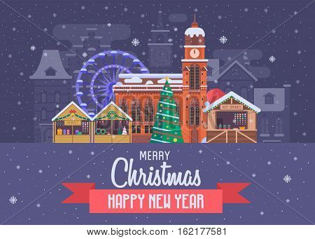 Vector Christmas wishing card with traditional celebrating text. Merry Christmas and Happy New Year greetings postcard with festive city background. Winter holidays congratulation template in flat.