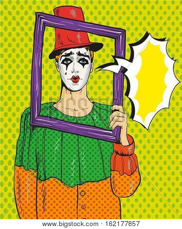 Vector illustration of Pierrot with picture frame and speech bubble. The man in the costume of Pierrot in retro pop art comic style.