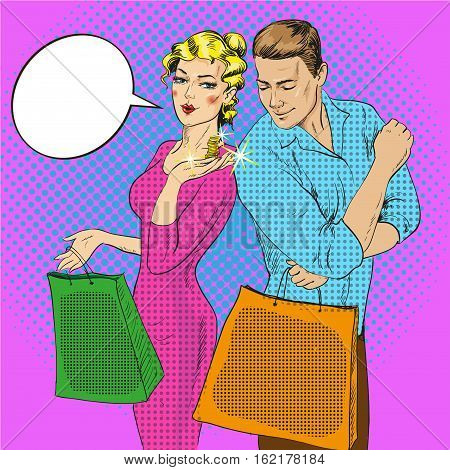 Vector illustration of man and woman with bags in retro pop art comic style. Couple talking to each other. Speech bubble. Lady showing coins on her palm. Shopping concept.