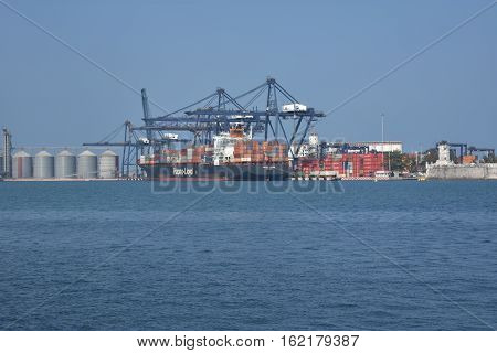 Import ship in the port of veracruz mexico