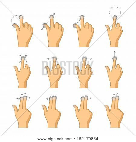 Set of flat colorful icons of touch gestures isolated on white
