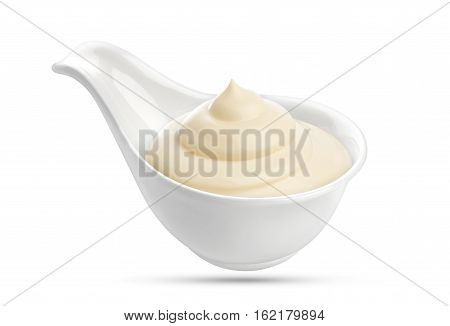 Mayonnaise bowl isolated on white background with clipping path