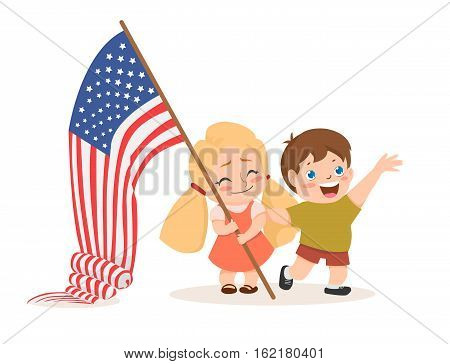 Vector 4 july US independence day sign with lettering. Flat, cartoon children holding American flag. Web design, poster, banner, print element. Object for advertisement background