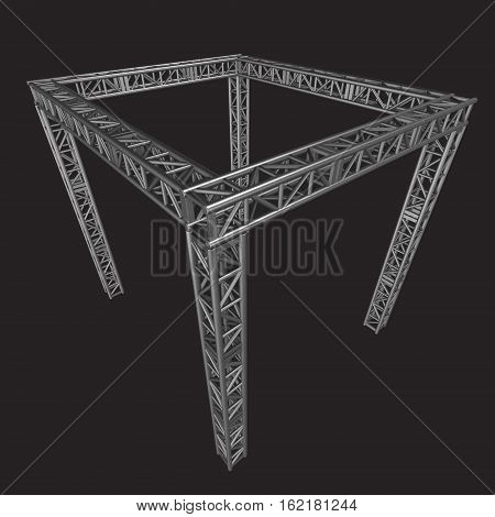 Steel truss girder rooftop construction. 3d render on dark