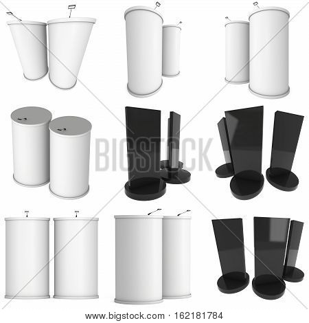 Trade show booth column white and blank set. 3d render isolated on white background. High Resolution Template for your design.