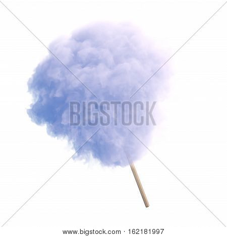 Cotton candy on wooden stick 3d render