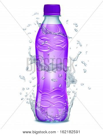 Water Splashes In Light Blue Colors Around A Plastic Bottle With Purple Juice