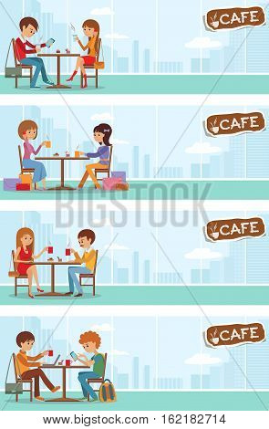 Couples of people in cafe eat, drink and use phone. Templates for flyers and banners. Vector Illustration with men and women at tables with city landscape in window.