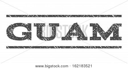 Guam watermark stamp. Text caption between horizontal parallel lines with grunge design style. Rubber seal stamp with dirty texture. Vector gray color ink imprint on a white background.