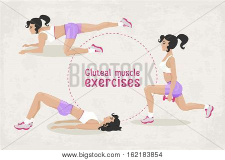 Vector Set of fitness workout exercises for a woman, thigh and gluteal muscle exercises for a girl .illustration of realistic woman in sport gym. Web design, poster, banner, print element.