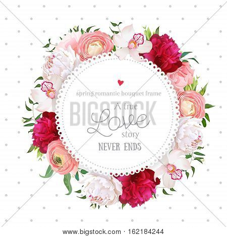 Polka dots pattern with floral vector design round card. White and burgundy red peony pink roses ranunculus flowers orchid mix of green plants. All elements are isolated and editable