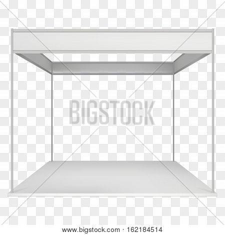 Trade Show Booth White and Blank. Blank Indoor Exhibition with Work Paths. Vector on transparent background. Ad Template for your Expo design.