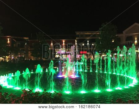 PIGEON FORGE, TN - OCT 3: The Fountain Show at The Island in Pigeon Forge, Tennessee, on Oct 3, 2016. Here, 89 vertical nozzles create lively movement and 6 motion-based water sprays swirl to music.