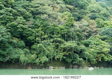 Lake in Arashiyama of Japan