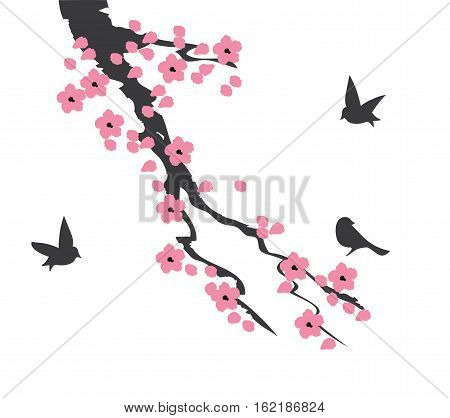 vector illustration of cherry blossom branch with birds