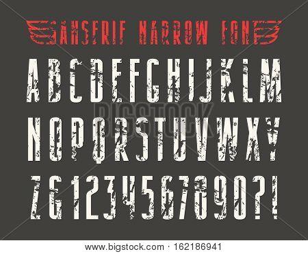 Narrow sanserif font with shabby texture. Print on black background