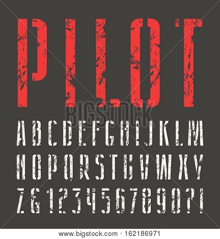 Narrow sanserif stencil-plate font with shabby texture. Print on black background