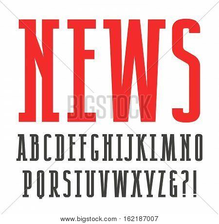 Narrow slab serif font. Isolated on white background
