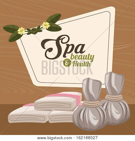 spa beauty and health herbal compress and towel vector illustration eps 10