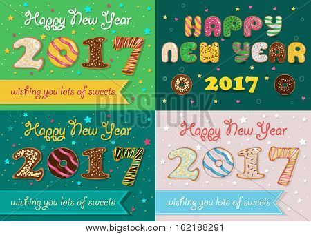 Happy New Year 2017. Colorful Donuts artistic font. Banners for custom texts. Wishing you lots of sweets. Vector Illustration
