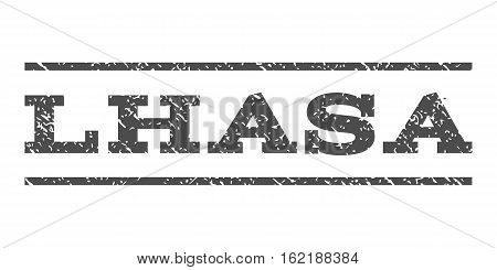 Lhasa watermark stamp. Text caption between horizontal parallel lines with grunge design style. Rubber seal stamp with dirty texture. Vector gray color ink imprint on a white background.