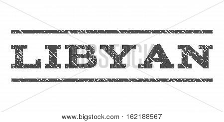 Libyan watermark stamp. Text tag between horizontal parallel lines with grunge design style. Rubber seal stamp with scratched texture. Vector gray color ink imprint on a white background.